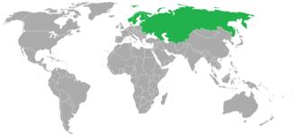 Federation of International Bandy - World map showing the 4 original members of FIB (green)