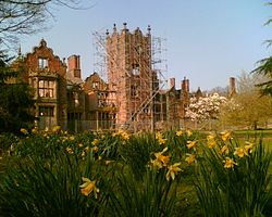 Daffodils on the Tower Lawn at Bank Hall with a view of the south elevation of the hall