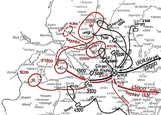 Battle of Pered - The military situation in the Western Front before and after the Battle of Pered. Red: Austrian and Russian troops. Black: Hungarians