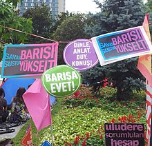A few banners regarding support to the solution process and asking for a just verdict for the Uludere massacrehanging at Gezi Park during the protests.