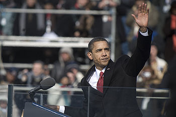 Barack Obama after inaugural address 1-20-09 hires 090120-N-0696M-327a.jpg