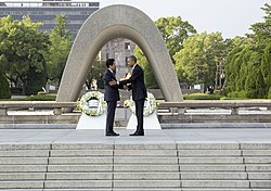 Barack Obama and Shinzo Abe at Hiroshima Peace Memorial Park.jpg