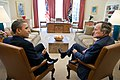 Barack Obama meets with former President George H. W. Bush in the Oval Office, 2011.jpg
