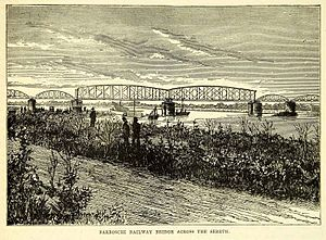 Siret (river) - Barboschi Railway Bridge, from an 1870s wood engraving