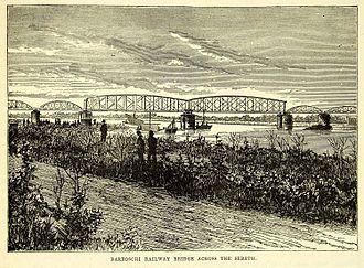 Siret (river) - Barboschi Railway Bridge, from an 1870s wood engraving