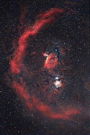 Barnard's Loop - Barnard's Loop can be seen on this image as a diffuse red semicircle.
