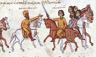 Stirrup - Byzantine emperor Basil I the Macedonian and his son Leo on horses with stirrups. (From the Madrid Skylitzes, Biblioteca Nacional de España, Madrid).