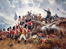 Blue U.S. soldiers stand behind an earthen wall as red-coated British soldiers charge. Jackson stands atop the parapet with his right hand outstretched and holding a sword.