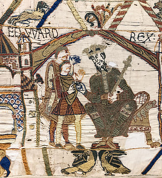St Edward's Crown - Edward the Confessor wearing a crown in the first scene of the Bayeux Tapestry