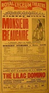 theatre poster advertising Monsieur Beaucaire, one of Messager's stage works, among other pieces, at the Lyceum Theatre, Edinburgh