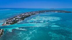 Aerial view of Caye Caulker