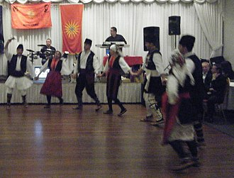 "Slavic speakers of Greek Macedonia - Ethnic Macedonian dancing group from Greece, Belomorci, performing the song ""Egejska Maka""."