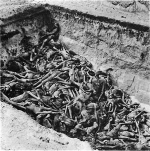 The bodies of the dead lie awaiting burial in ...