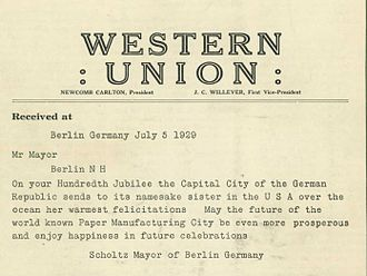 """Berlin, New Hampshire - A letter from Mayor Arthur Scholtz of Berlin, Germany honoring the """"Paper City"""" on its 100th anniversary on July 5, 1929"""
