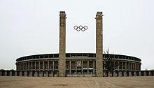 Berlin Olympiastadion Main Entrance Olympic Rings dec 2004b.jpg