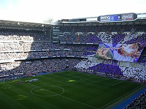 Visual of the Bernabeu during the teams' prese...