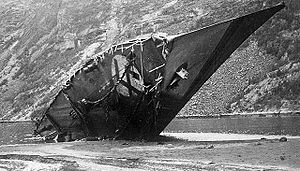 Battles of Narvik - The wreck of the scuttled Bernd von Arnim in the Rombaksfjord