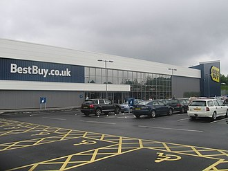 """Best Buy Europe - Best Buy is sometimes called the """"big blue box"""" because of the prominent design on Best Buy stores. This store is located in Westfield Merry Hill, West Midlands, UK."""