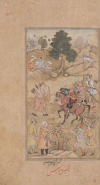 Amba (Mahabharata) - Image: Bhishma and parashurama fight for Amba