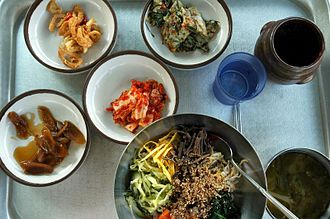 Bibimbap - A selection of ingredients for making bibimbap