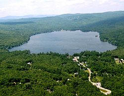 Aerial view of Elkins (foreground) and Pleasant Lake