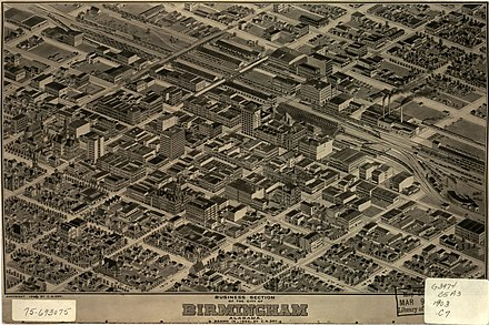 Panoramic map of Birmingham's business section from 1903 Birmingham Alabama map 1903.jpg