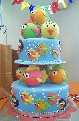 Fondant icing - Image: Birthday cake for one year old