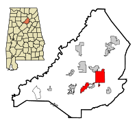 Blount County Alabama Incorporated and Unincorporated areas Oneonta Highlighted.svg