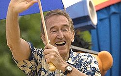 Characters on the show, like Bob, have great longevity compared to similar series. This still is from the closing sequence of an early season. Linda was television's longest appearing character with a disability, while Luis is the longest running Hispanic character. Here Bob (Bob McGrath) appears at Sesame Place in 2007. McGrath performed various songs, signed autographs, and appeared in the theme park's daily parade, as seen.