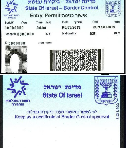 Border Control Entry Permit Israel