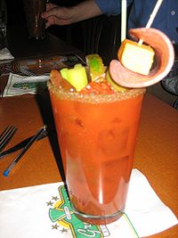 Bloody Mary with multiple garnishes