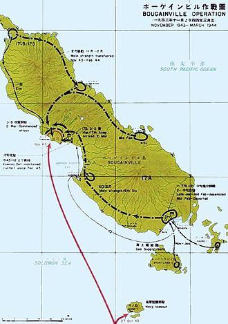 Bougainville counterattack - Map of Japanese troop movements on Bougainville during the fighting on the island between November 1943 and March 1944