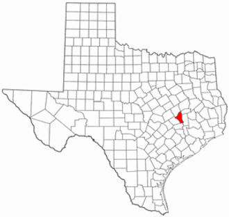 National Register of Historic Places listings in Brazos County, Texas - Location of Brazos County in Texas