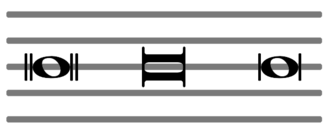 Double whole note - Left: breve in modern notation. Centre: breve in mensural notation used in some modern scores as well. Right: less common stylistic variant of the first form.