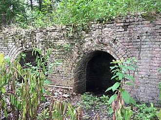 Shelby Iron Company - Image: Brick foundations of blast ovens at Shelby Iron Works Park