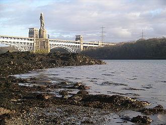 Menai Strait - Menai Strait west of Britannia Bridge showing the memorial to Admiral Lord Nelson