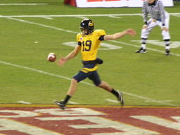 Bryan Anger punts at 2008 Emerald Bowl.JPG
