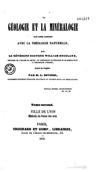 File:Buckland - La Géologie et la Minéralogie dans leurs rapports avec la théologie naturelle, 1838, tome 2.djvu