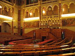 The National Assembly sits in the Parliament House in Budapest