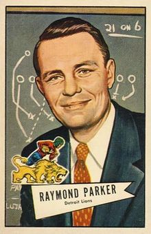 Illustration from a football card of Parker wearing a dark suit and red tie in front of a chalkboard