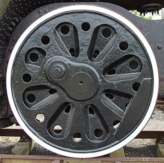 Lightening holes - Lightening holes in Bulleid Firth Brown (BFB) railway locomotive wheel