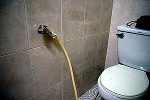 Bidet shower - Image: Bum Gun Installation