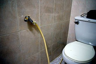 Bidet shower - Image: Bum Gun Installation