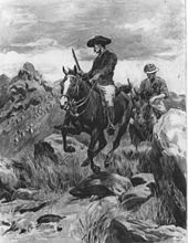 Drawing of Burnham and Bonar Armstrong soon after the shooting of the Mlimo priest in the Matopos Hills. The two men are on their horses, holding their rifles, and fleeing from the scene. Burnham looks back and sees many angry Matabele warriors running behind him in hot pursuit.