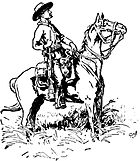 Baden-Powell's sketch of Chief of Scouts Burnham, Matopos Hills, 1896. Burnham is seated on a horse with his rifle at his side, and he is wearing his steton hat and neckerchief. Both burnham and his horse are show profile, facing right.