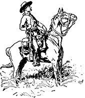 Esboço de Baden-Powell do Chefe dos Escoteiros Burnham, Matopos Hills, 1896. Burnham está sentado em um cavalo com seu rifle ao lado, e ele está usando seu chapéu Stetson e lenço no pescoço.  Tanto Burnham quanto seu cavalo são mostrados de perfil, voltados para a direita.