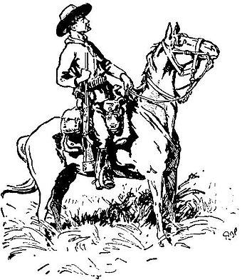 Baden-Powell's sketch of Chief of Scouts Burnham, Matopos Hills, 1896. Also used on the dust cover of Scouting on Two Continents. (1934 edition). Burnham sketch by baden-powell.jpg