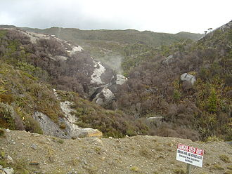 Coal seam fire - A coal seam fire near Denniston, New Zealand