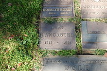 Burt Lancaster grave at Westwood Village Memorial Park Cemetery in Brentwood, California.JPG