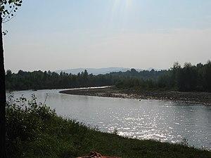 Buzău (river) - Upstream view of the Buzău near Unguriu, Buzău County